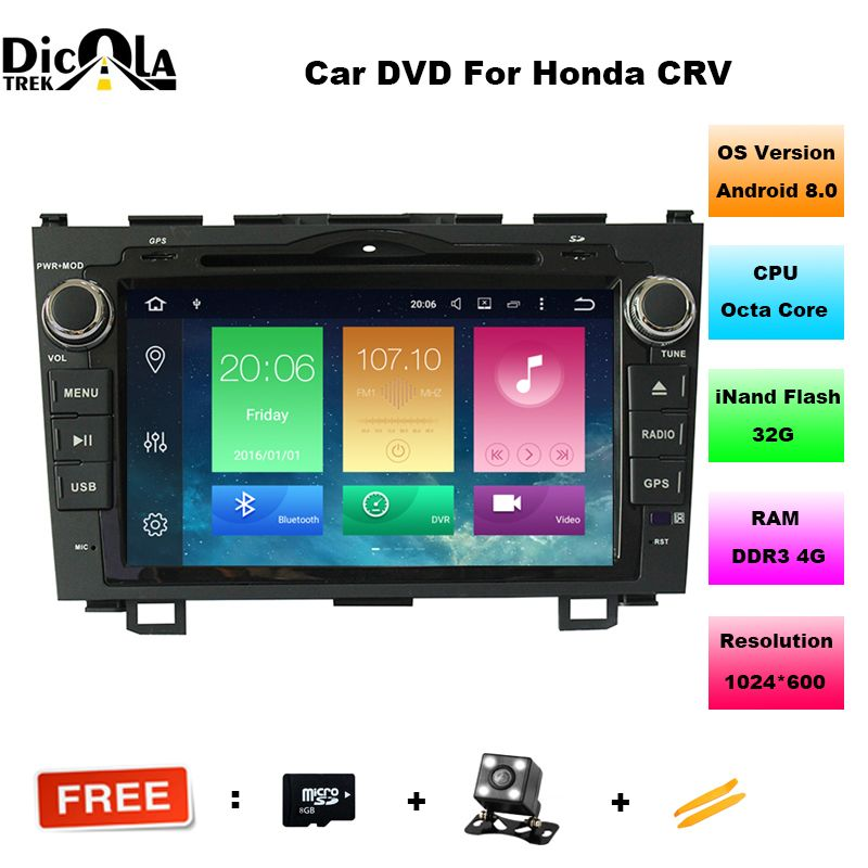 Android 8.0 HD 1024*600 Car DVD Player Radio For Honda CRV 2007 2008 2009 2010 2011 4G WIFI GPS Navigation Head Unit 2 din 4GRAM