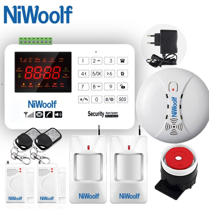 NEW NiWoolf GSM Alarm System VIP Buyer Price Home Alarm Security System Door Detector Infrared Detector Touch Keyboard <font><b>433MHz</b></font>