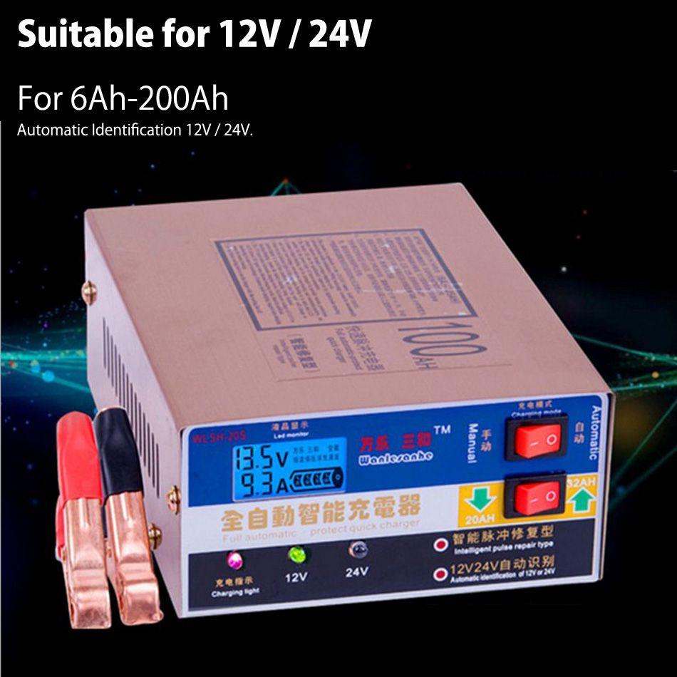 Neueste 220 V Vollautomatische Elektrische Auto Ladegerät Intelligente Puls Reparatur Typ Ladegerät 12 V/24 V 100AH
