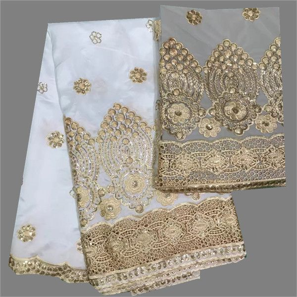 Latest white with gold 5yards African raw silk george lace fabric + 2yards of French tulle net lace for party dress set DGN2