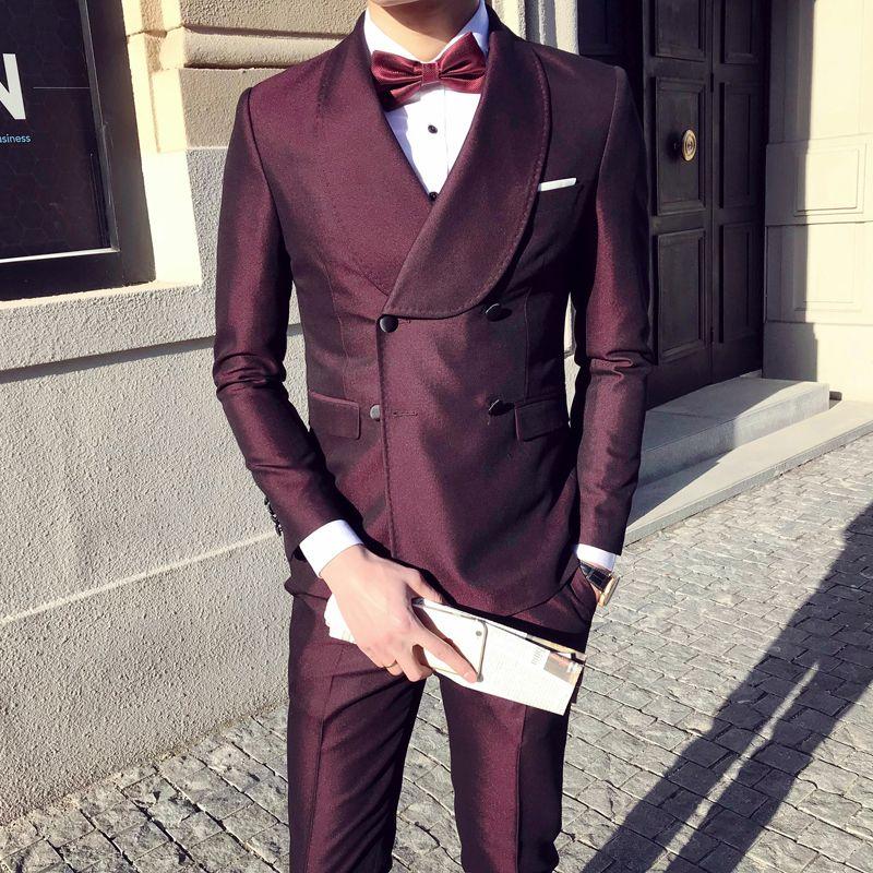 pant coat latest design Suit Double Breast Wedding Prom Terno Slim Fit Vestito Uomo Big Collar Side Slit Dress Smoking Suit