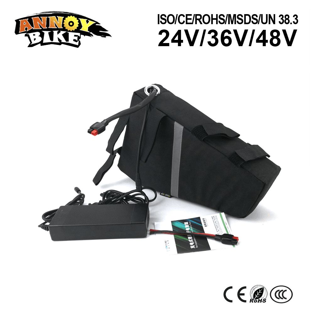 48V20Ah 1000W 1500W Triangle Battery Electric Bike Scooter Motorcycle Frame Battery Lithium Battery with Bag 54.6V 2A charger