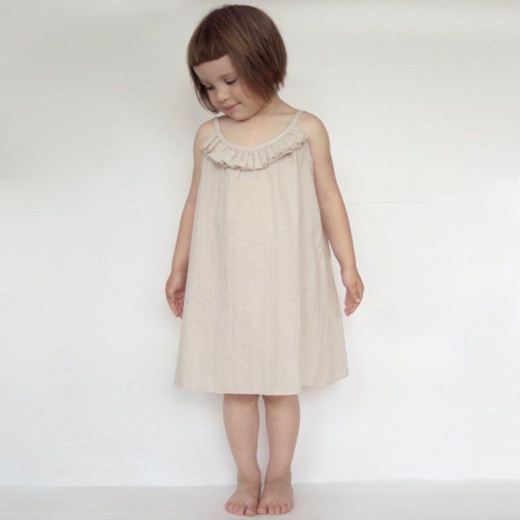 2017 nouveau été enfant robe bonne qualité belles filles robe enfant vêtements pour enfants beige/noir simplement jarretelle taille 90-150