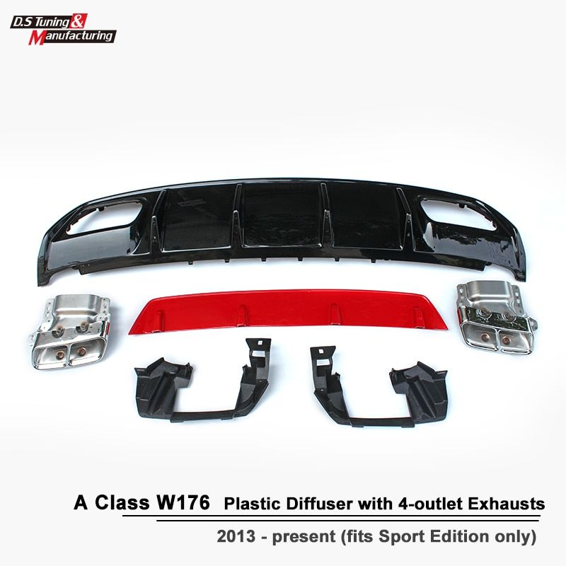 ABS A45 Diffuser + 304 Stainless Steel 4-Outlet Exhaust Tip Fits Mercedes W176 2013 - IN Sport Edition A Class A180 A200