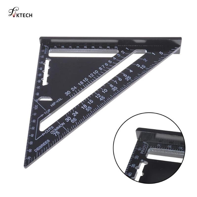 Carrés de règle d'angle de Triangle métrique d'alliage d'aluminium chaud de 7/12 pouces pour des outils de mesure de rapporteur d'angle carré de vitesse de travail du bois