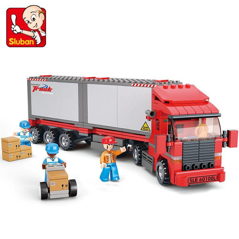 Kits de construction modèle Sluban compatibles avec le camion de ville loge 520 blocs 3D modèles éducatifs et jouets de construction loisirs pour enfants