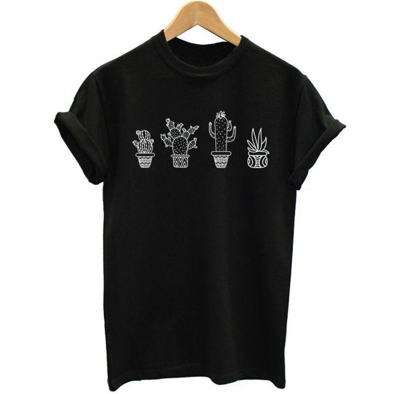 2018 Nouveau Mode D'été De Causalité Tops Plante cactus Impression Rue Les Amoureux de la marée Hommes Et Femmes T-Shirt Harajuku Plus La Taille S-4XL Pop