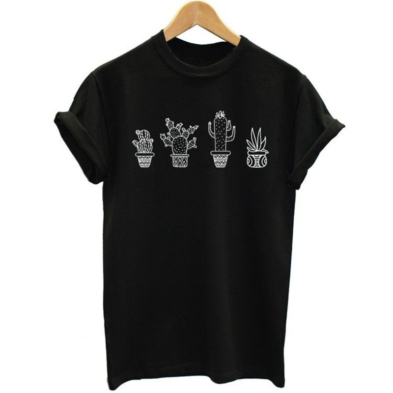 2018 Nouveau Mode D'été De Causalité Tops Plante cactus Impression Rue Marée Amateurs Hommes Et Femmes T-Shirt Harajuku Plus La Taille S-4XL pop