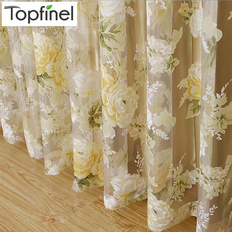 Top Finel CHAUDE Moderne Rose Floral Tulle pour Fenêtre Rideau Voilages pour le Salon la Chambre Fenêtre Dépistage Panneau