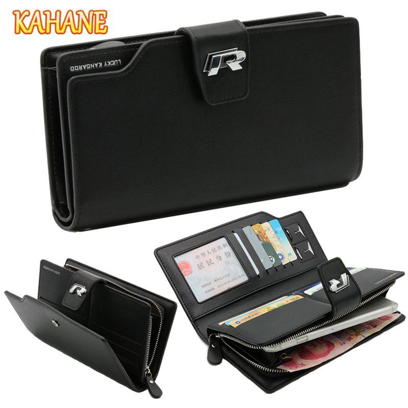 KAHANE Genuine Leather Men Wallet Men Clutch Bag Car Driver License Bag Credit Card Wallet For VW T5 Passat B6 B5 Golf 7 Touran