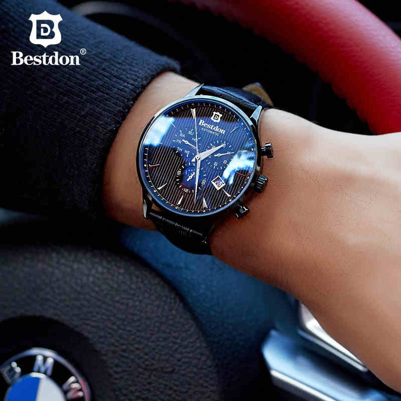 Bestdon Moon Phase Men automatic mechanical Watches Luxury Brand Waterproof Watch Casual genuine leather strap Relojes Masculino