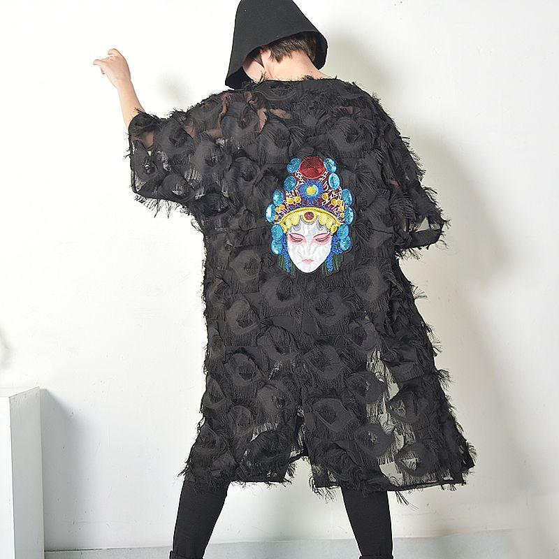 LANMREM 2018 Spring Summer Fashion Black White Embroidery Back Coat Loose Feather Windbreaker V Neck Big Size New Woman Q333