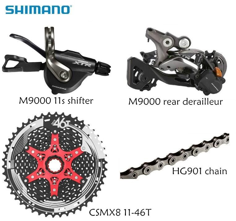 Shimano XTR M9000 4pcs bike bicycle mtb 11 speed kit groupset RD-M9000 Shifter with SunRace cassette K7 11-speed 11-46T 11-50T