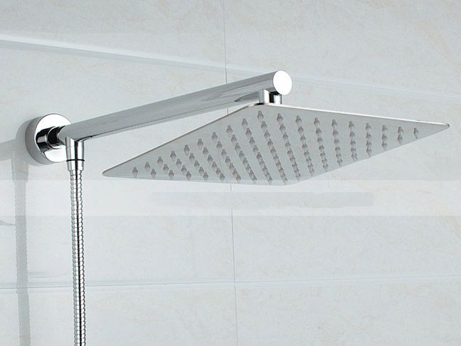 8inch Square Stainless Steel Shower Head Extension with 16 inch Shower Arm Bottom Entry kit 03-110