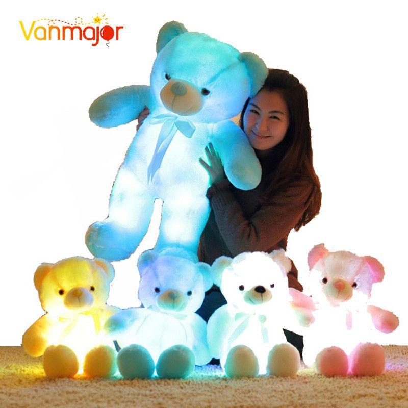 50 CM créatif éclairage LED inductif ours en peluche animaux en peluche jouet coloré brillant ours en peluche cadeau de noël pour les enfants