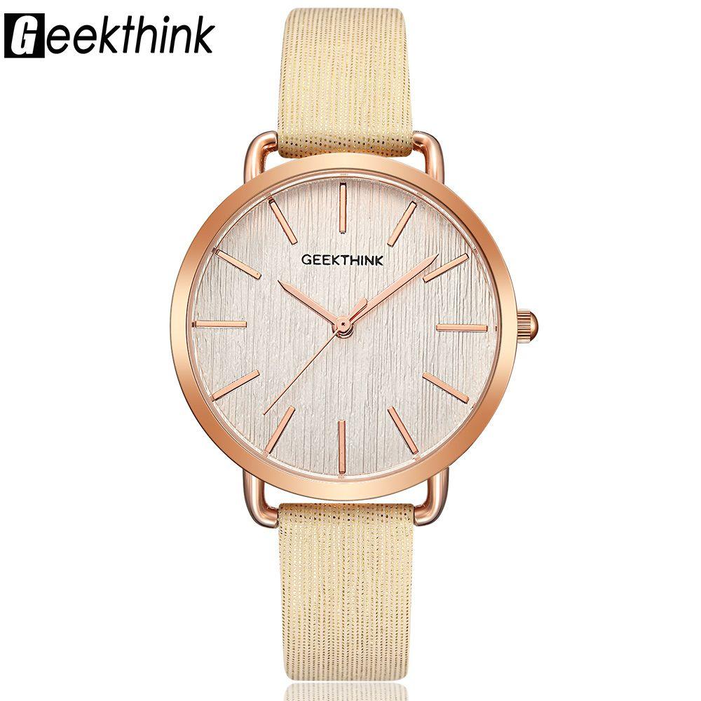 Geekthink moda de marca de lujo superior reloj de cuarzo de las señoras del reloj oro rosa casual cuero reloj mujer nuevo Relogio