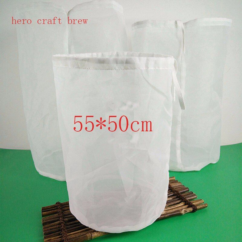 2017 Free Shiping 55*50cm Home Brew 10 Gallon Fine Mesh HOP BAGS BEER <font><b>MAKING</b></font> HOME BREWING FOOD GRADE Beer Filter Bar Accessory