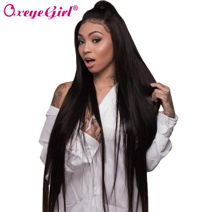 Glueless Lace Front Human Hair Wigs For Women Black Brazilian Straight Lace Front Wig With Baby Hair Oxeye girl Remy Hair Wig