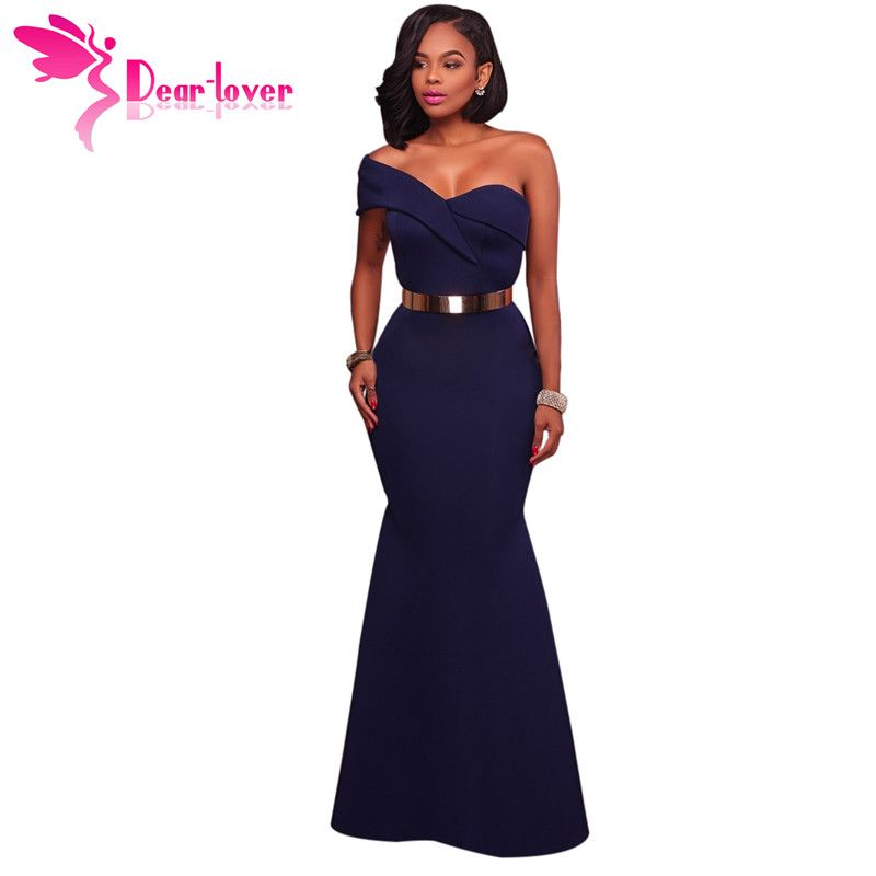 Dear Lover Long Dress Party Navy Blue/Red Sexy One Shoulder Maxi Gowns Robe de Soiree Longue 2017 vestido longo de festa LC61774