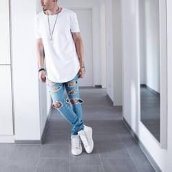 Wen Si Tun Warna Solid Curve Hem Kasual Pria T-shirt Longline 2019 Musim Panas Hip Hop T Shirt Jangka Street TEE kemeja untuk Pria