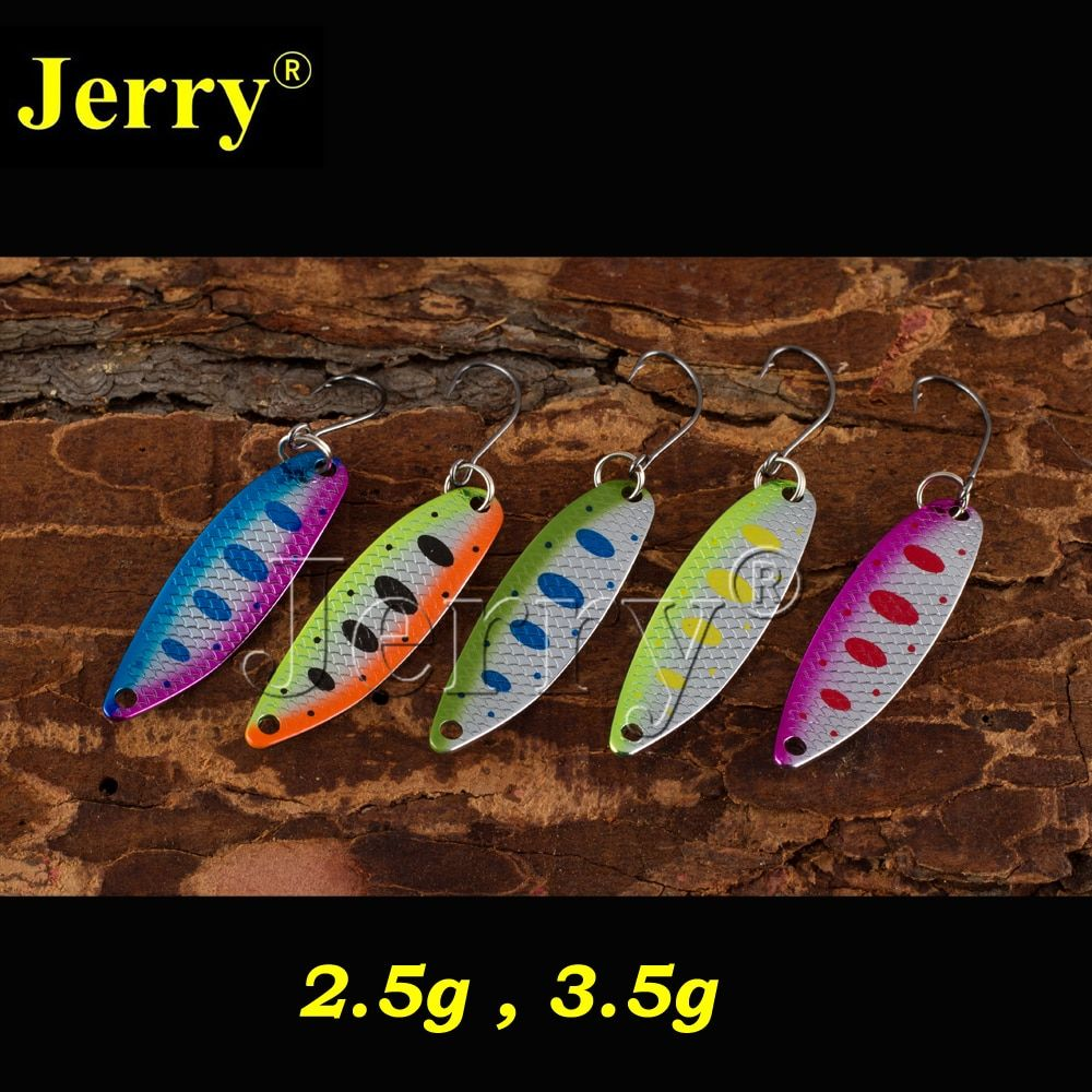 Jerry 5pcs 2.5g 3.5g narrow fluttering fishing spoons fast spinning colorful area&stream trout spoons pesca