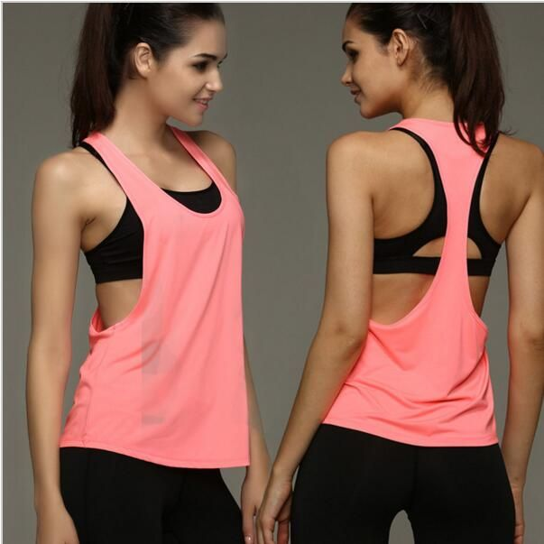 MOGEBIKE Hot Sexy Female Loose Sports Shirts Solid Fitness Vest Gym Women Yoga Clothes Running Top Breathable Lady Cycling Vest