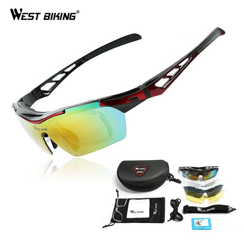 WEST BIKING Polarized Cycling Sunglasses Bike Eyewear Racing Men Women Goggle oculos Bicycle Glasses 5 Lens Cycling glasses