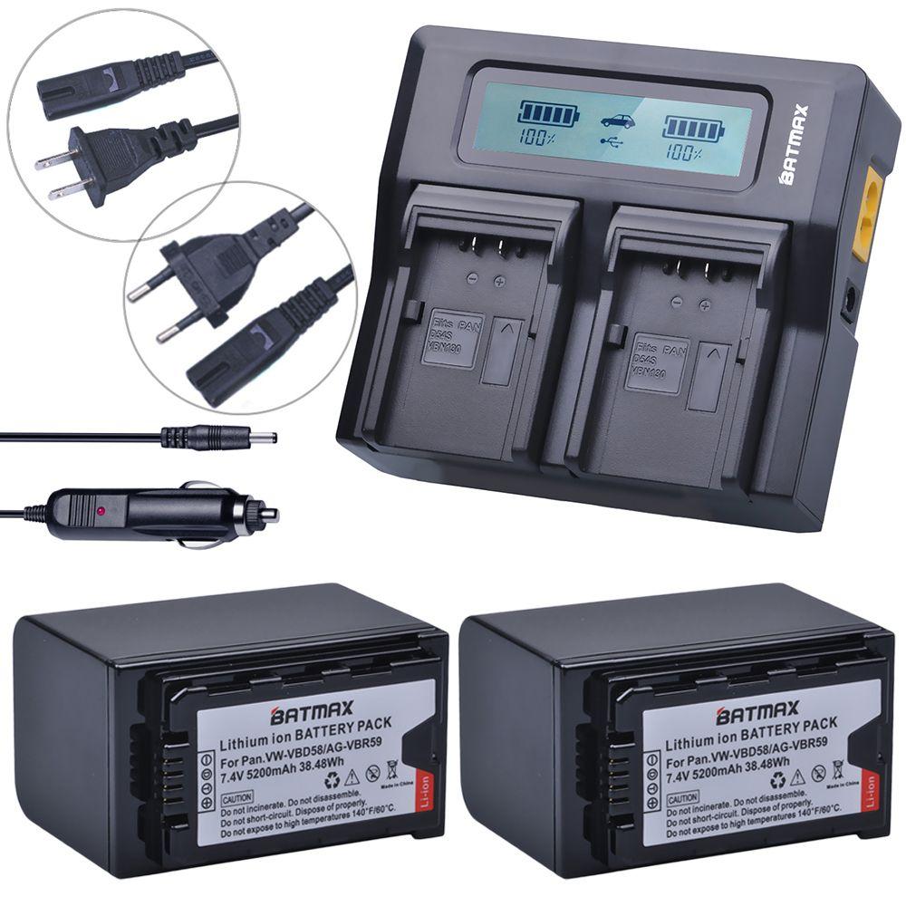 2Pcs 5200mAh VW-VBD58 VBD29 VBD58 VBD78 Batteries + Rapid LCD Dual Charger Kits for Panasonic AJ-HPX260MC,HPX265MC,PX270,PX280MC