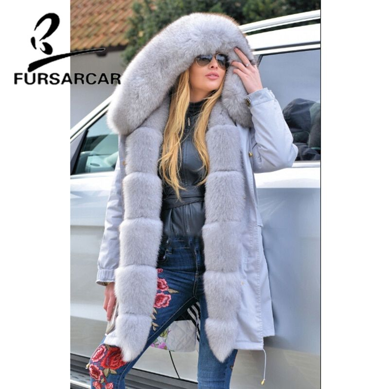 FURSARCAR New Type Women Real Fur Coat Luxury Winter Thick Warm Fur Parka With Fox Fur Trim Hood And Cuff Top Quality Parka