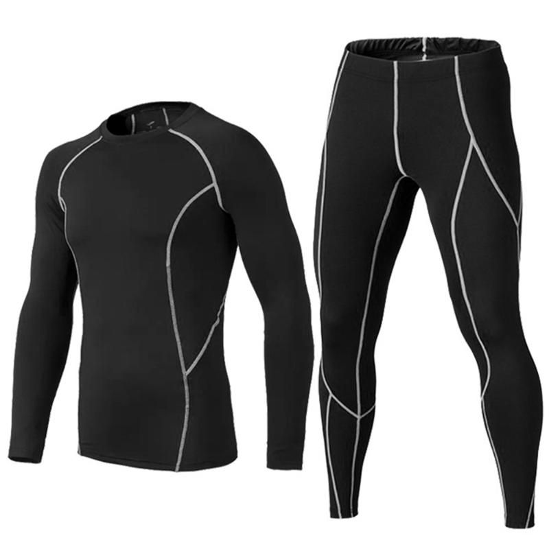 2018 Men's Compression Run jogging Suits Clothes Sports Set Long t shirt And Pants Gym Fitness workout Tights clothing 2pcs/Sets