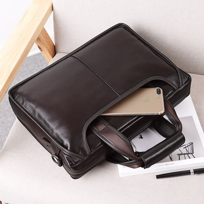 FEGER 2018 New Fashion Genuine Leather Men Bag Famous Brand Shoulder Bag Messenger Bags Causal Handbag Laptop Briefcase Male