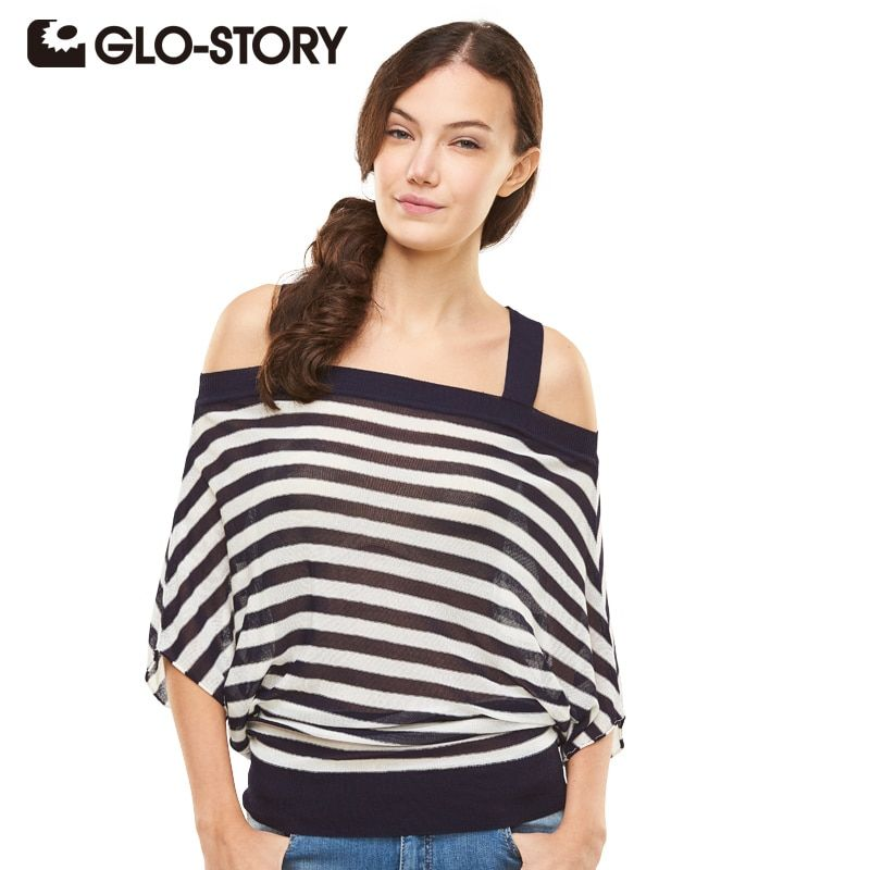 GLO-STORY Women Knitting Pullover Tops 2017 Sexy Black Striped  Off Shoulder Strap Feminina Cotton Sweater 1675