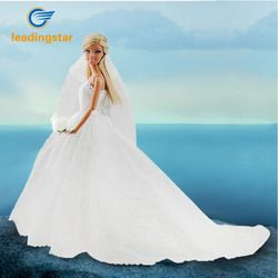LeadingStar Wedding Dress for Doll Princess Evening Party Clothes Wears Long Dress Outfit Set for Doll with Veil Doll Dress