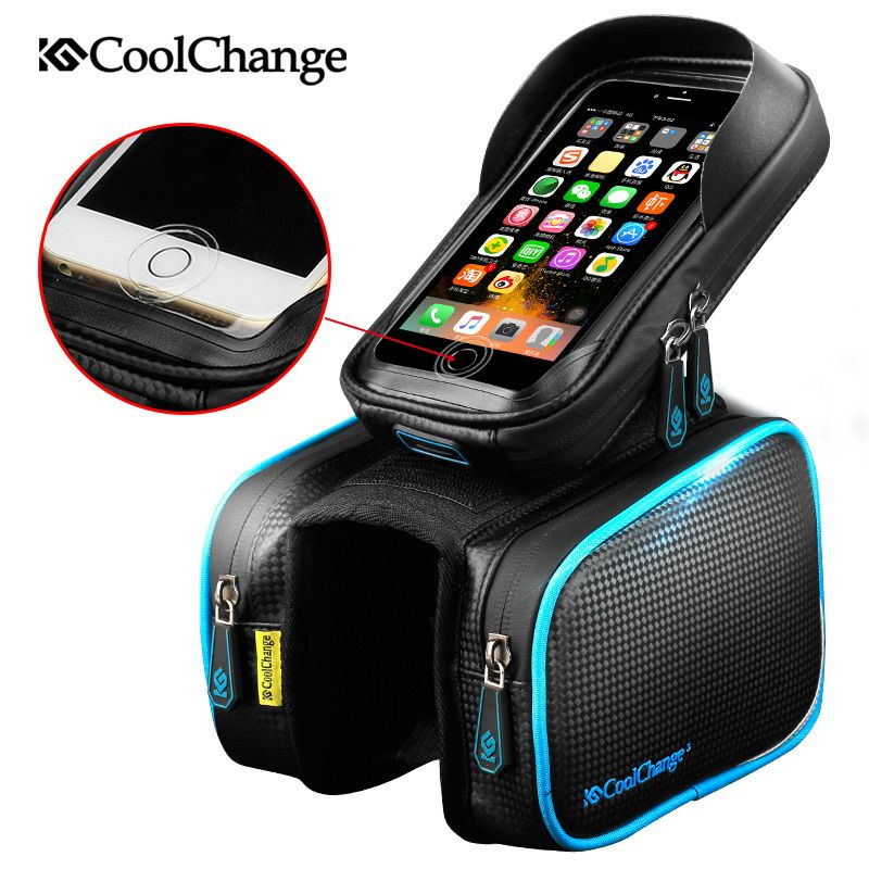 CoolChange Bicycle Frame Front Head Top Tube Waterproof Bike Bag&<font><b>Double</b></font> IPouch Cycling For 6.0 in Cell Phone Bike Accessories