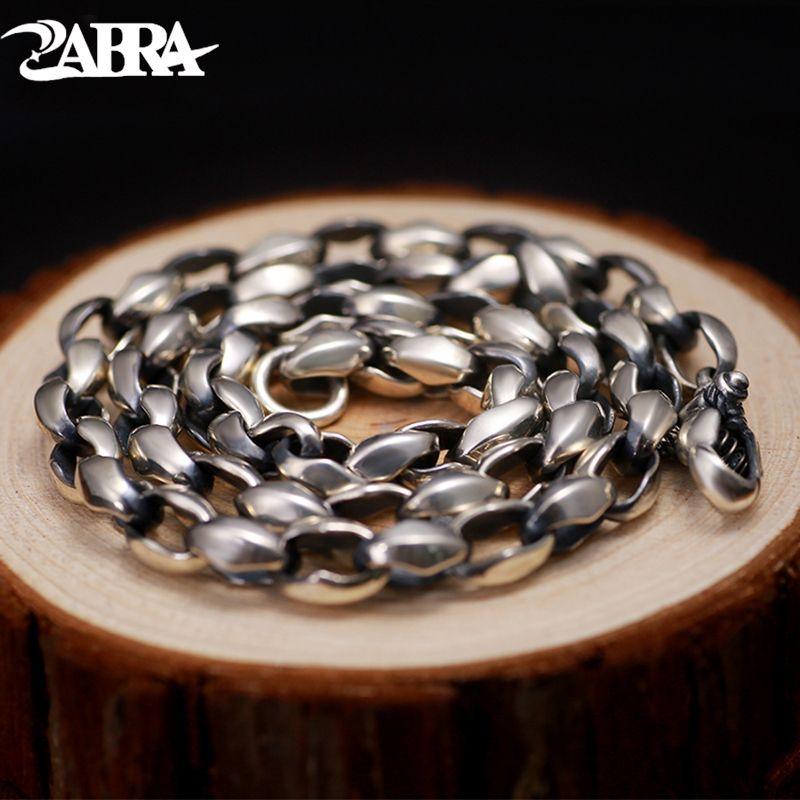 ZABRA Super Luxury Necklace For Men Solid 925 Silver Thick 8mm 55cm Hiphop Punk Vintage Chain Ealge Lock Handmade Biker Jewelry