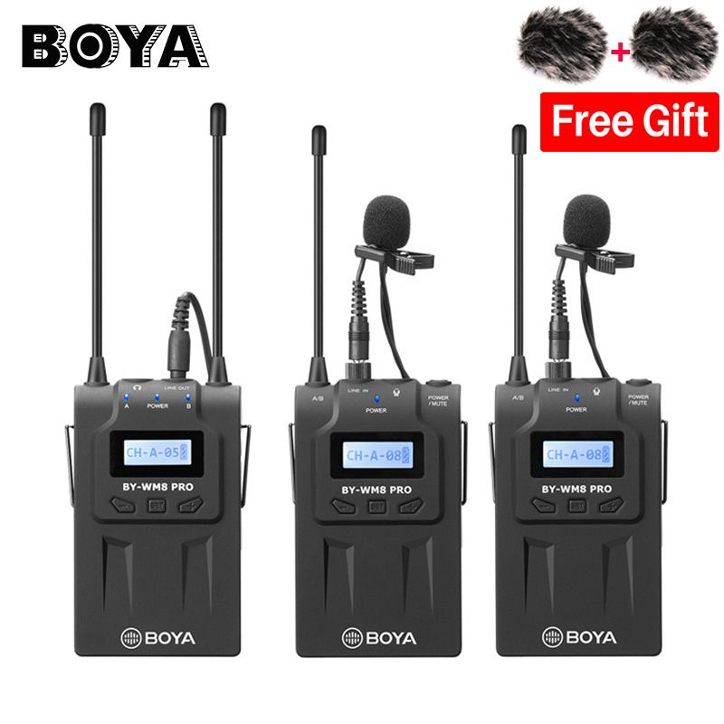 BOYA BY-WM8 Pro K2 Dual Channel Wireless Lavalier Microphone System for iPhone for Canon Nikon DSLR cameras Interview Broadcast