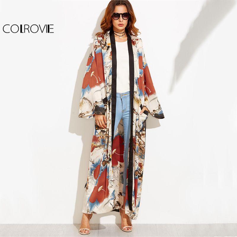 COLROVIE Calico Print Maxi Kimono Long Sleeve Vintage Blouse Women 2017 Autumn Loose Tops Contrast Trim Elegant Belted Kimono