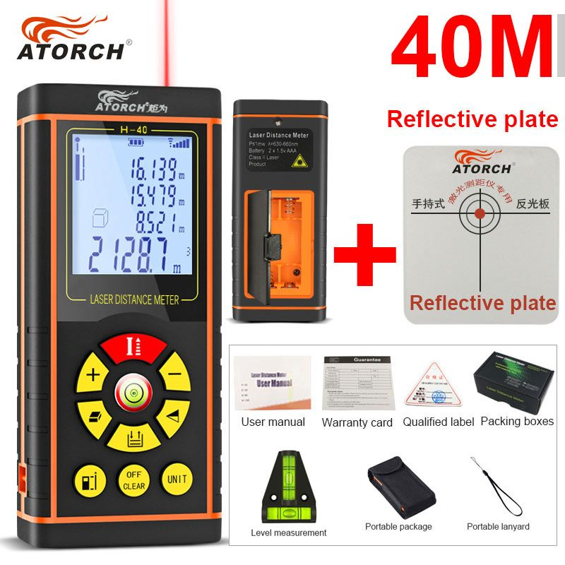ATORCH 40M Digital Laser Distance Meter Rangefinder Optical Tape Range Finder Diastimeter build Measure Roulette rule tester