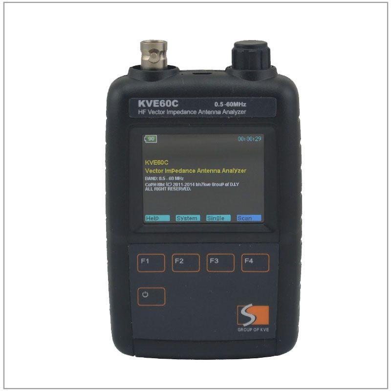 KVE60C 0.5-60MHz HF Vector Impedance Antenna Analyzerwith 3pcs RF Adapters for Amateur HAM Radios