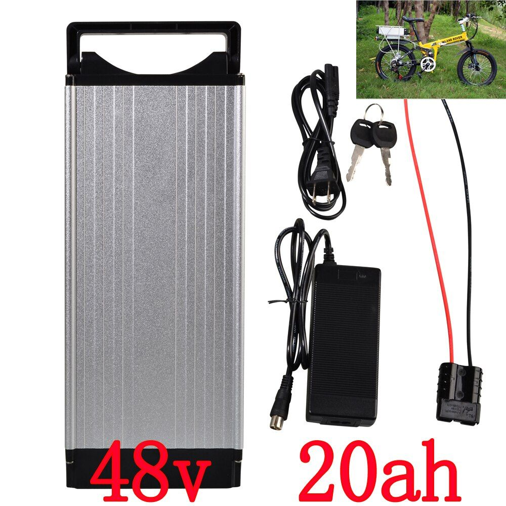 Electric Bike battery 48V 20AH 1000W Rear Rack battery 48V 20AH Lithium ion battery With Tail light 30A BMS 54.6V 2A charger