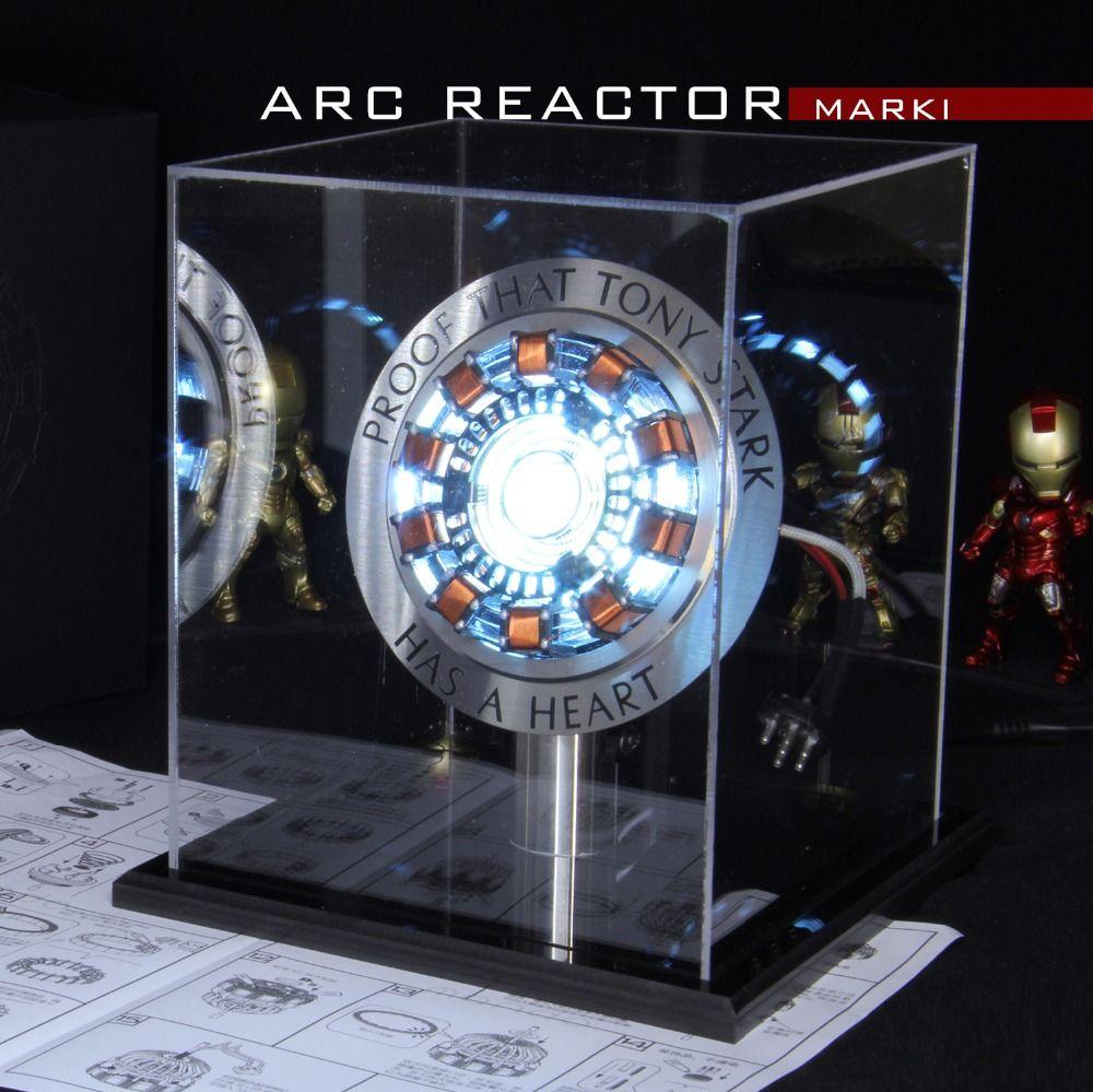 Avengers 1:1 fer homme Arc réacteur figurine MK1 Ironman réacteur Tony Stark Arc réacteur bricolage pièces modèle jouets avec lumière LED