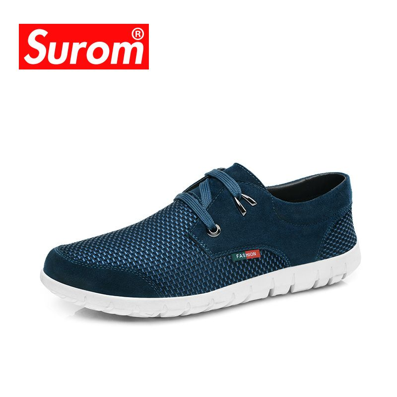 SUROM 2018 Men's Casual Shoes Fashion Sneakers Brand Summer Breathable Leather Mesh Lace up <font><b>Leisure</b></font> Shoes Men Loafers krasovki
