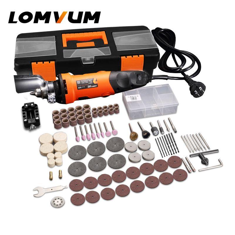 Ensemble d'outils rotatifs LOMVUM meuleuse électrique 350 W bricolage Mini meuleuse 400 W outil abrasif 6 vitesses meulage Dremel Kit graveur arbre