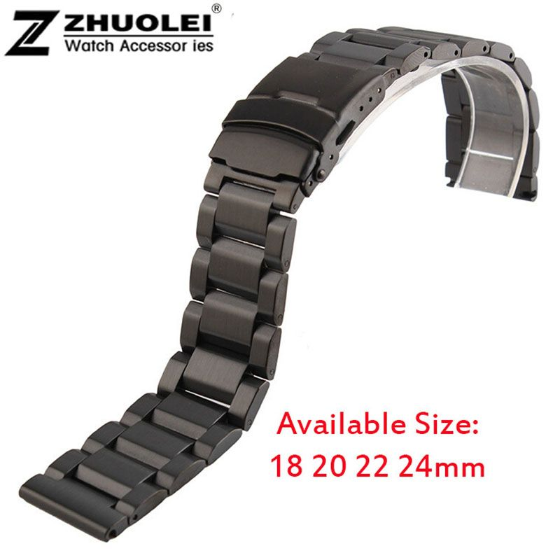 New High Quality brushed Black Men's Solid Stainless Steel Strap 18mm 20mm 22mm 24mm Band Bracelet Double Folding Clasp Buckle