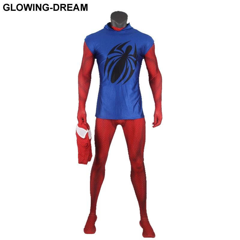 High Quality Scarlet Spider Cosplay Costume With Blue Hood Newest Scarlet Spider Man Fullbody Zentai Suit For Halloween Party