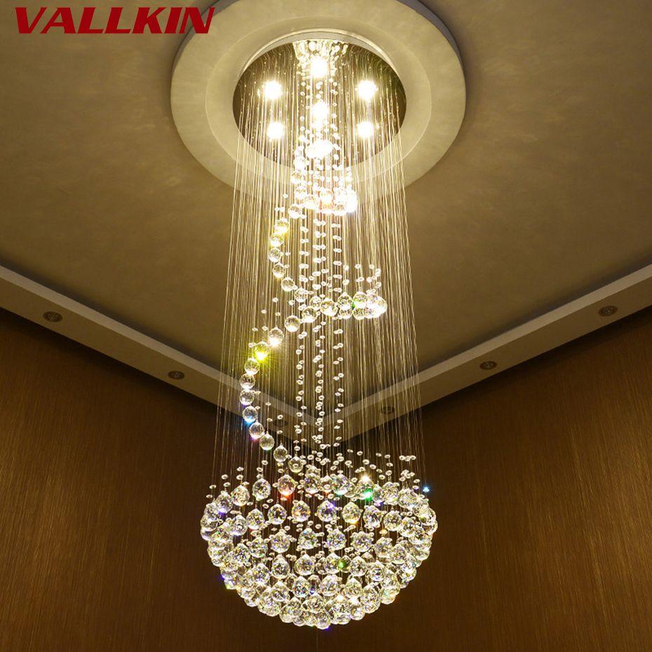 Modern Crystal Chandeliers Ceiling Hanging Lamps For Villa Penthouse Spiral Duplex Rotation LED K9 Cristal Chandelier Fixtures