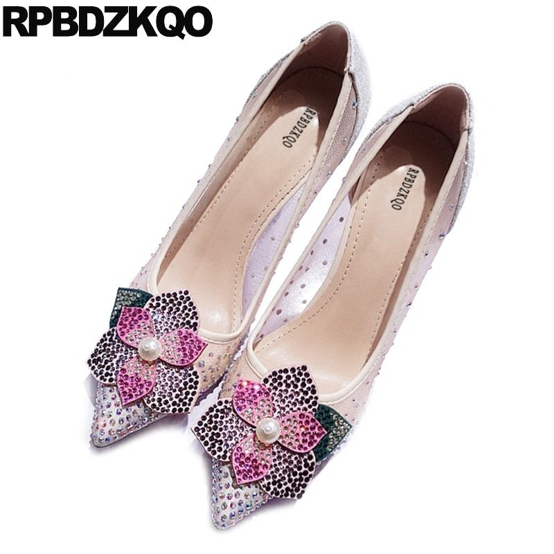 Diamond Flower Size 4 34 High Heels Rhinestone Bling 33 Prom Stiletto Party 2017 Chic Wedding Nude Pointed Toe Sequin Mesh