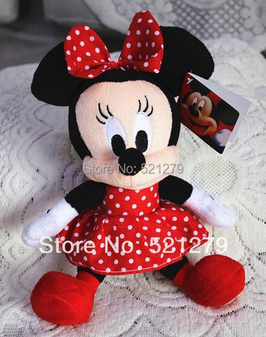 2017 nouveau 1 pièces 28 cm = 11 pouces Minnie mouse peluches, couleur rouge, meilleur cadeau d'anniversaire pour fille et filles