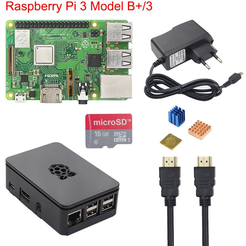 Original Raspberry Pi 3 B+ Starter Kit + Case + 2.5A Power Supply +16 32GB SD Card + Heat Sink for Raspberry Pi 3 <font><b>Model</b></font> B+ Plus