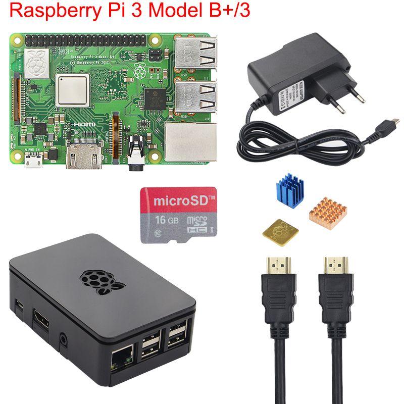 Original Raspberry Pi 3 B+ Starter Kit + Case + 2.5A Power Supply +16 <font><b>32GB</b></font> SD Card + Heat Sink for Raspberry Pi 3 Model B+ Plus